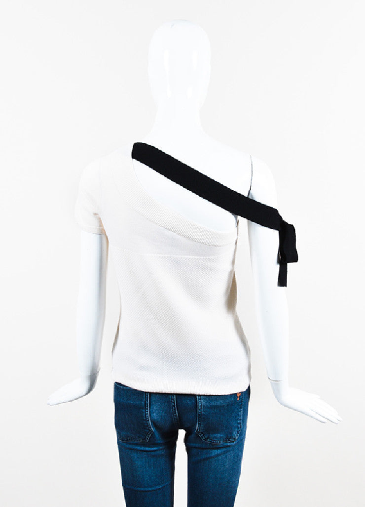 Cream and Black Chanel Wool Fine Knit One Shoulder Sweater Top Backview