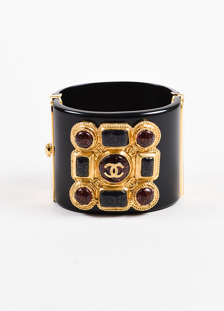 Chanel Black, Red, and Gold Toned Resin Gripoix Glitter Wide Bangle Cuff Bracelet Frontview