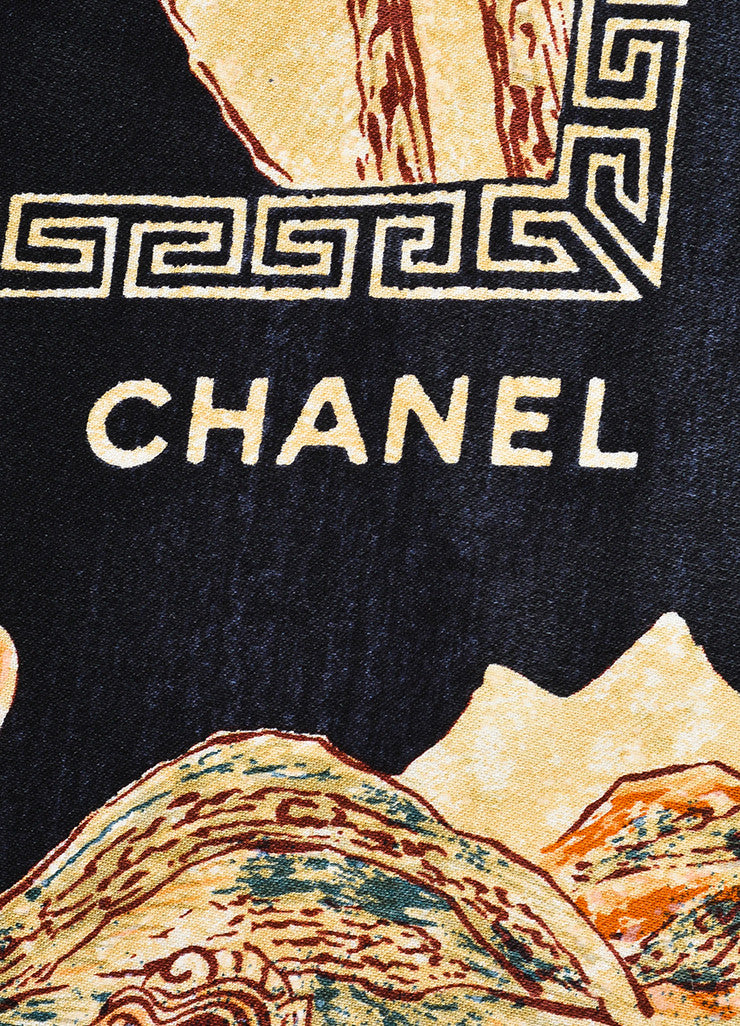Chanel Black Multicolor Silk Village Print Scarf Brand