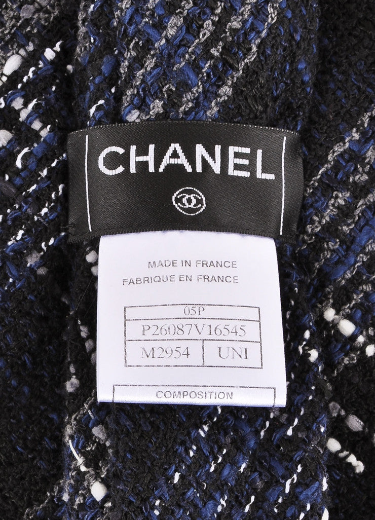 Chanel Black, Navy, and Grey Boucle Tweed Oversized Necktie Brand