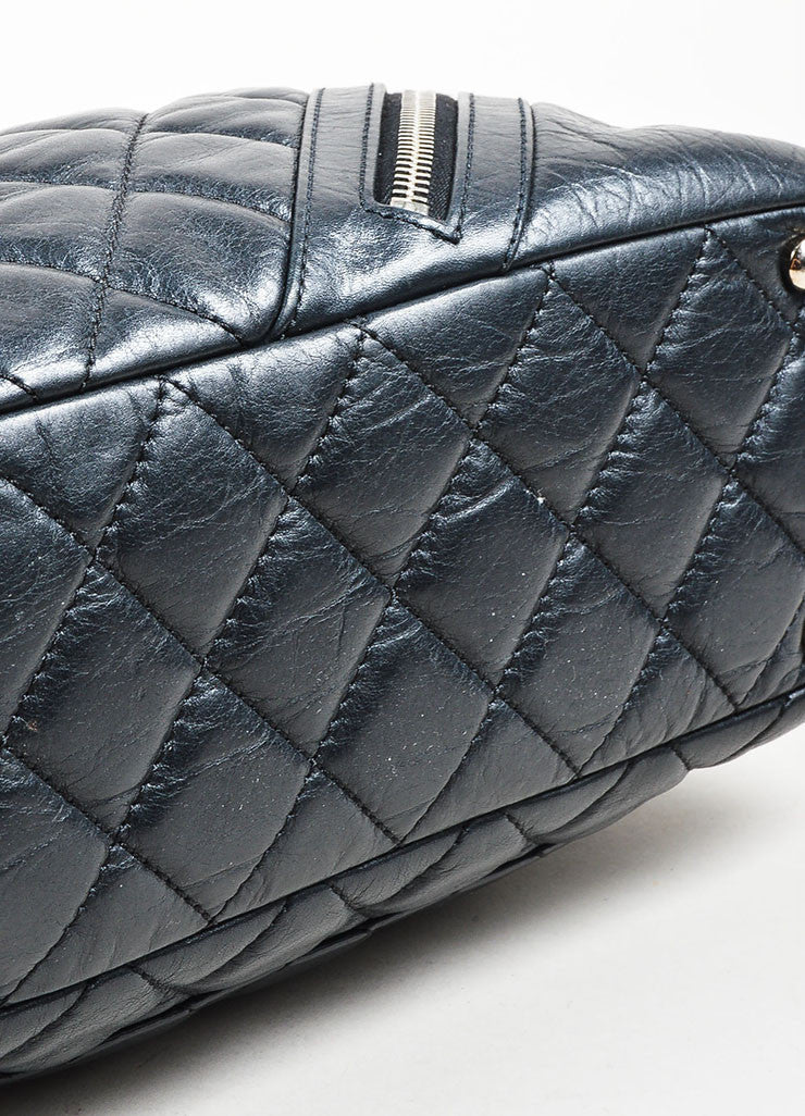 Black and Silver Toned Chanel Leather Quilted Shoulder Bag Bottom View