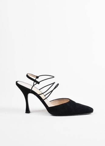 Chanel Black Suede Thin Strap Ankle Wrap Pointed Pumps Sideview
