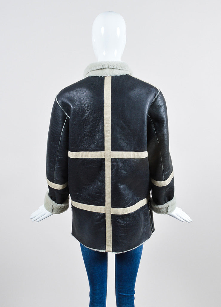 Black Leather and Cream Shearling Reversible Chanel Zip Up Coat Backview