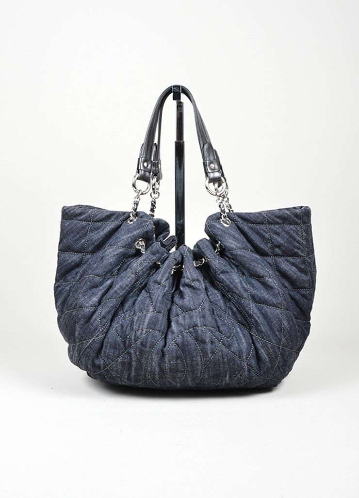 "Dark Blue Denim Chanel Quilted ""Cabas"" Tote Bag Frontview"