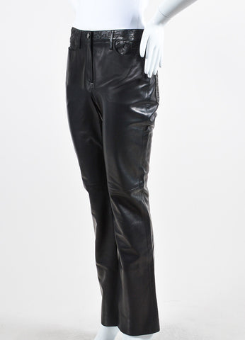 Black Chanel Leather Laser Cut Waist Pants Sideview