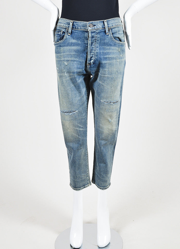 "Citizens of Humanity Blue Denim ""Corey Crop"" Slouchy Slim Jeans Frontview"