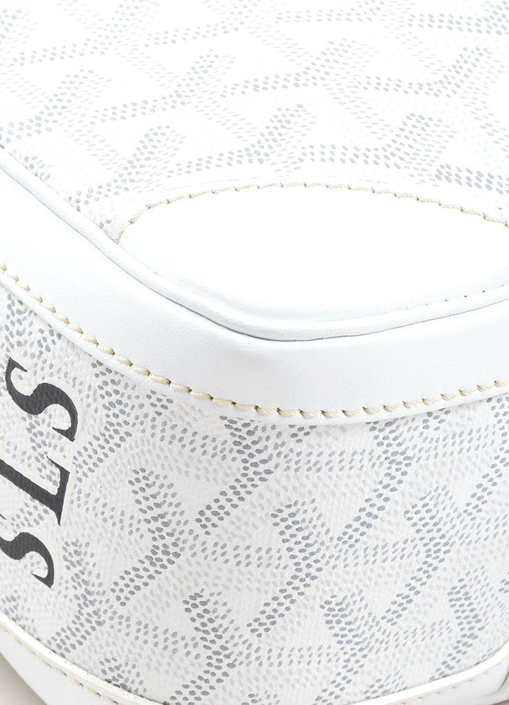 "Goyard White Coated Canvas Hand Painted Printed Monogram Stripe ""St. Martin"" Bag Detail"