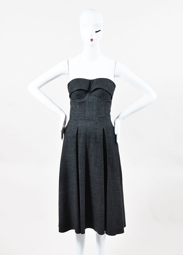 Gucci Grey Wool Structured Bustier Fit Flare Strapless Dress Front