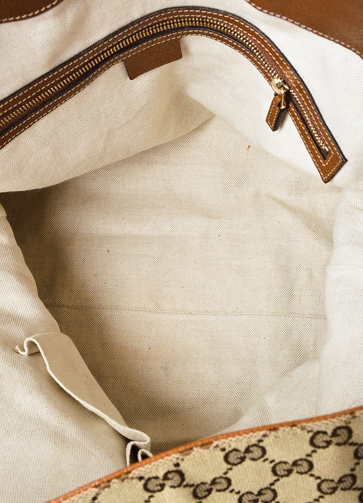 "Gucci Tan and Brown Canvas Leather Monogram ""Bree"" Carryall Shoulder Strap Tote Bag interior"