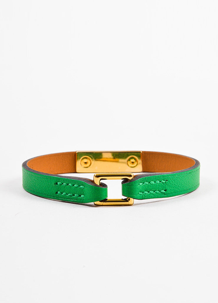 "Hermes Green Leather Gold Plated ""Micro Rivale"" Bracelet Backview"