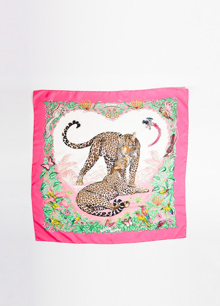"Hermes Pink, Green, and Beige Silk Twill Leopards ""Jungle Love"" 90cm Square Scarf Frontview 2"