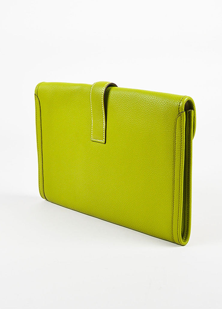 "Hermes Vert Anis Green Togo Leather ""Jige PM"" Flap Clutch Bag Sideview"