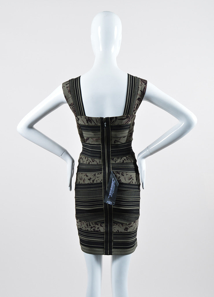 "Green and Black Herve Leger Printed Stripe Bandage ""Mallory"" Dress Backview"