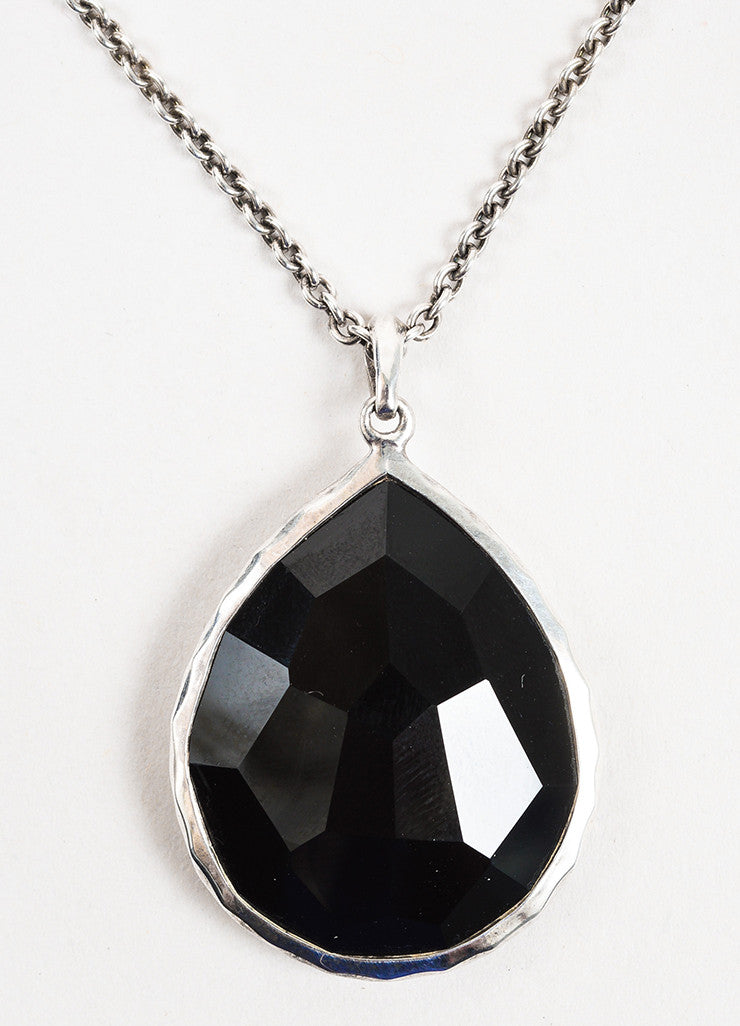 "Ippolita Sterling Silver and Black Onyx ""Rock Candy"" Teardrop Pendant Necklace Detail"
