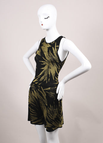 Jason Wu Black and Green Botanical Palm Print Knit Sleeveless Romper Sideview