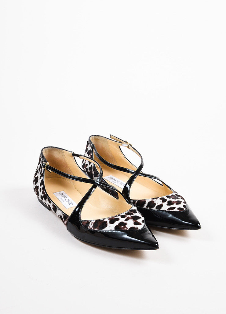 "Jimmy Choo Brown and Cream Pony Hair and Patent Leather ""Gamble"" Flats Frontview"