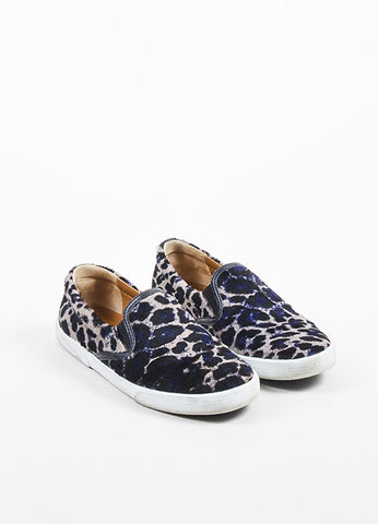 "Black, Blue, and Taupe Jimmy Choo Leopard Pony Hair Slip On ""Demi"" Sneakers Frontview"
