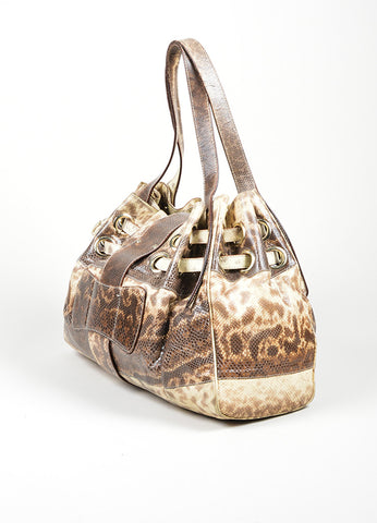 "Beige and Brown Jimmy Choo Snakeskin Leather Gathered ""Ramona"" Shoulder Bag Sideview"