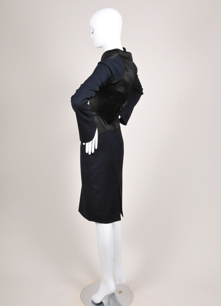 Karolina Zmarlak New With Tags Navy and Black Satin Trim Illusion Sheath Dress Backview