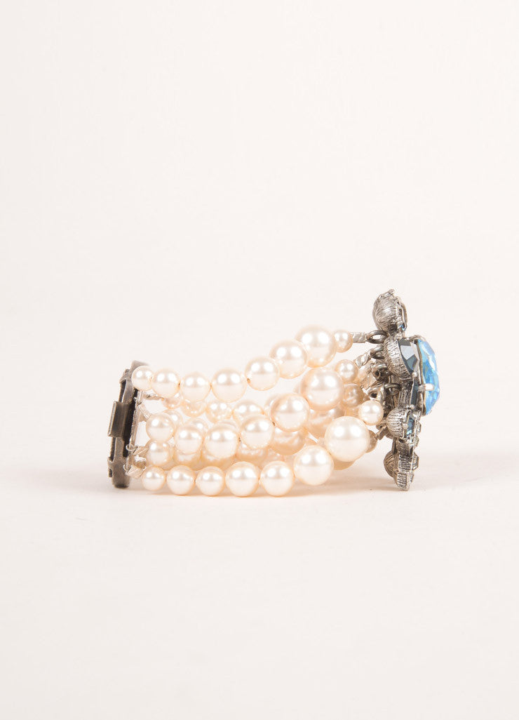 Lanvin Cream, Blue, Grey Rhinestone and Faux Pearl Embellished Multi Strand Bracelet Sideview