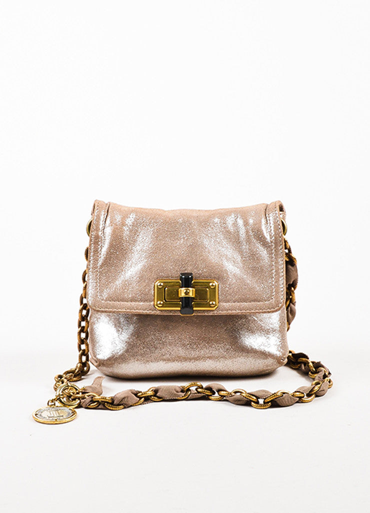 "Lanvin Taupe Silver Metallic ""Happy Mini Pop"" Chain Strap Shoulder Bag Frontview"