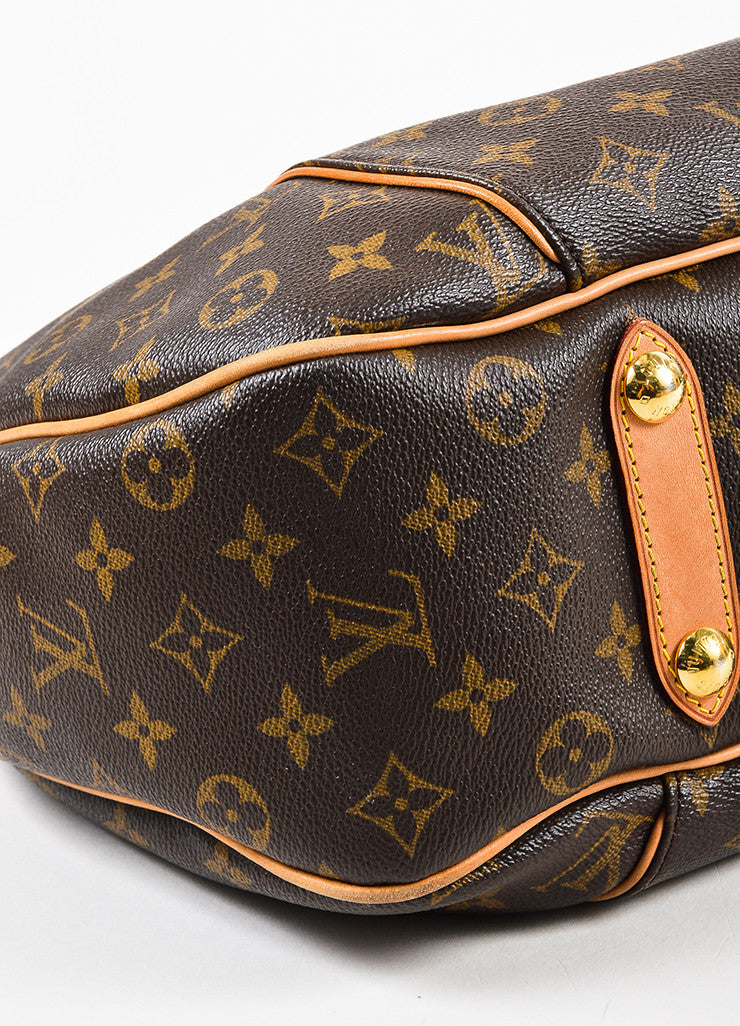 "Louis Vuitton Brown Monogram Coated Canvas ""Galliera PM"" Hobo Bag Detail"