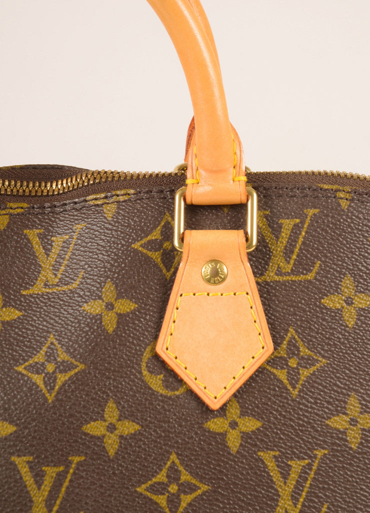 Louis Vuitton Brown and Tan Coated Canvas Leather Monogram Alma PM Bag Detail 2
