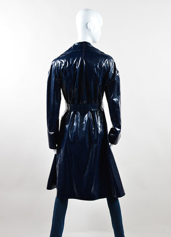 Martin Grant Navy Blue Patent Belted Trench Coat Backview