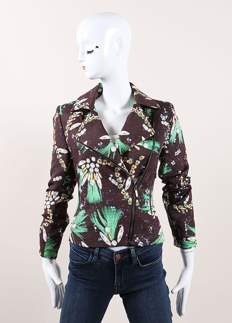 Mary Katrantzou New with Tags Brown and Green Cotton and Silk Jewel Print Moto Jacket Frontview