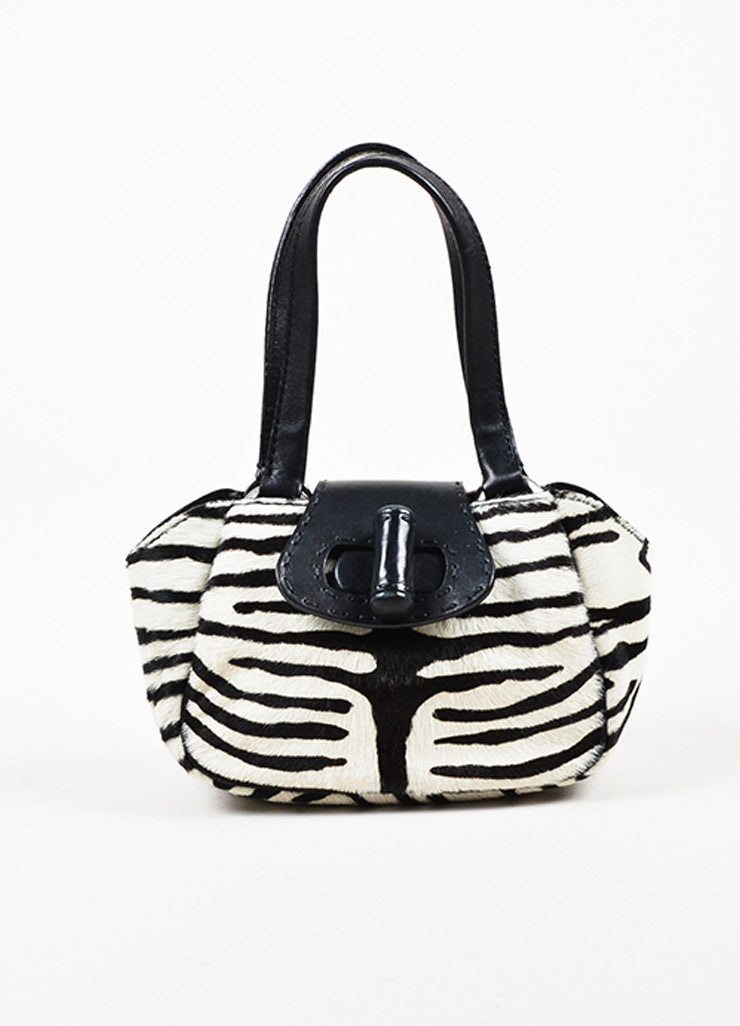 Prada Limited Edition Black and White Leather Pony Hair Zebra Patterned Mini Tote Bag Frontview