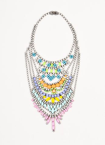 Tom Binns Gunmetal and Multicolor Painted Coated Rhinestone Chandelier Bib Necklace Frontview