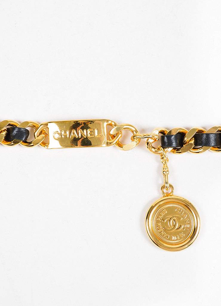 Gold Toned and Black Chanel Leather 'CC' Coin Charm Chain Belt Closure