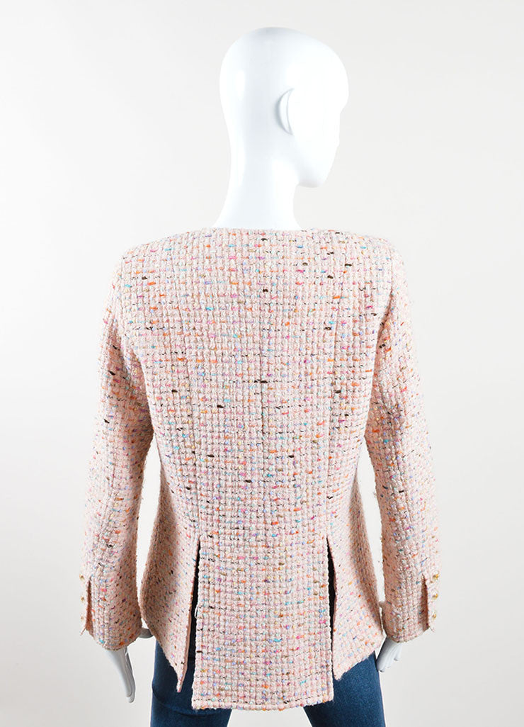 Chanel Pink and Multicolor Wool Blend Tweed Long Sleeve Jacket Backview