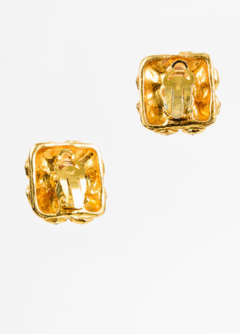 Gold Chanel Glass Crystal Square Clip On Earrings Back