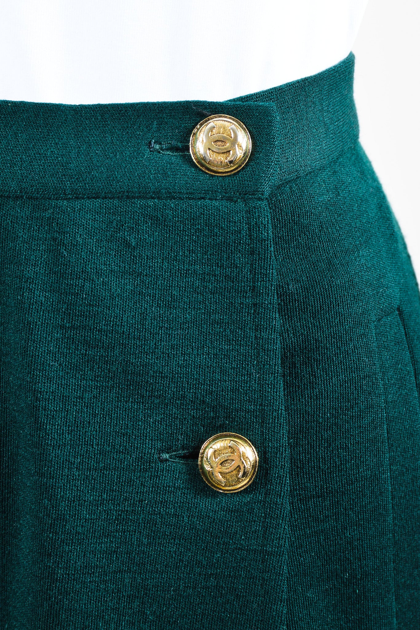 "Vintage Green Chanel Wool Sailor Gold ""CC"" Button Pencil Skirt  Detail"