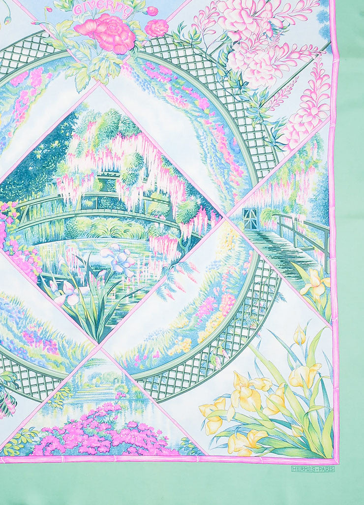 "Multicolor Hermes Silk Floral Print Garden Scene ""Giverny"" Scarf Detail"