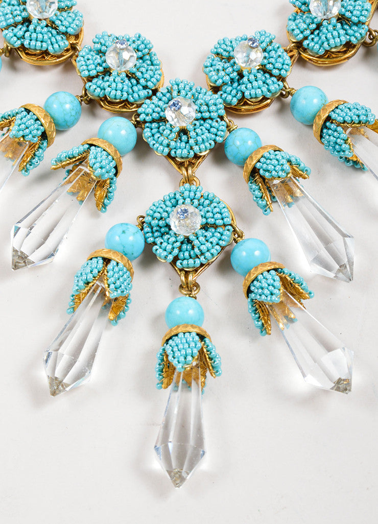 Stanley Hagler Turquoise Bead and Crystal Dagger Statement Necklace Detail