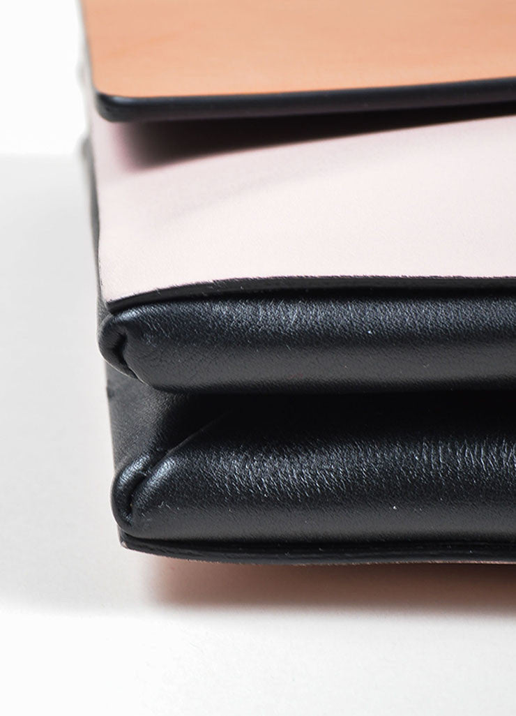 Tan, Pink, and Black Color Block Valentino Leather Rectangle Clutch Bag Detail