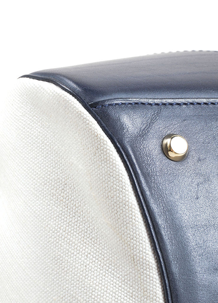 Valextra Midnight Navy Leather and Cream Canvas Doctor Handbag Detail