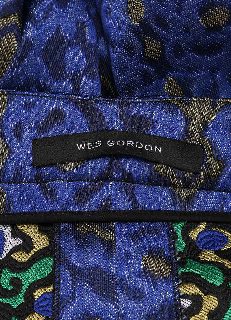 Wes Gordon New With Tags Blue and Yellow Lapis Topkaki Brocade Skinny Pants Brand