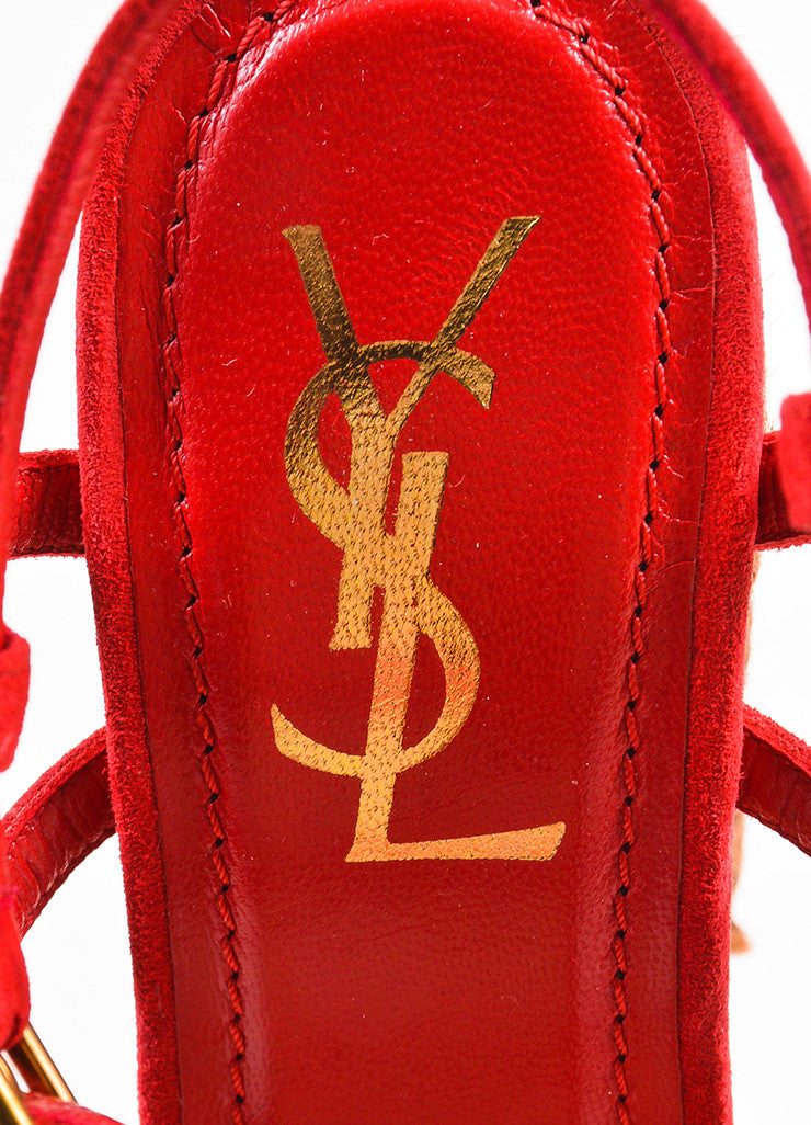 "Yves Saint Laurent Red and Brown Suede ""Gipsy"" Espadrille Platform Sandals Brand"