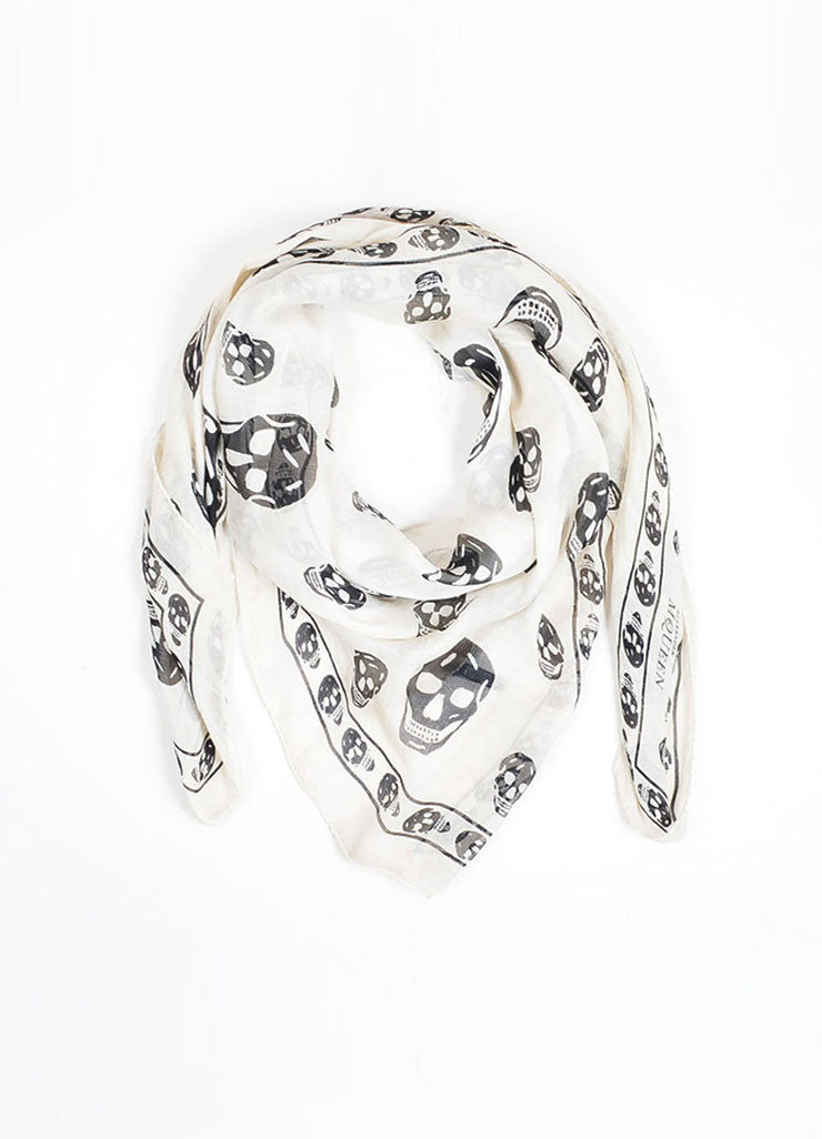 Cream and Black Alexander McQueen Silk Chiffon Oversized Skull Print Scarf Frontview