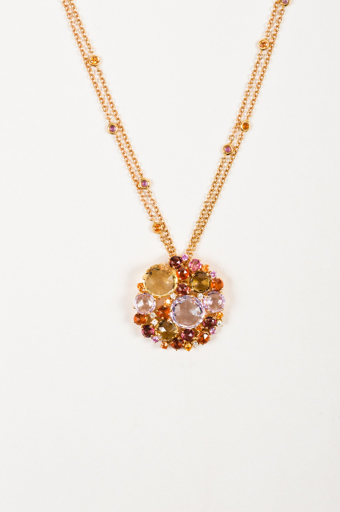 "A & Furst 18K Gold, Pink Sapphire, and Diamond ""Bouquet"" Pendant Necklace Detail"