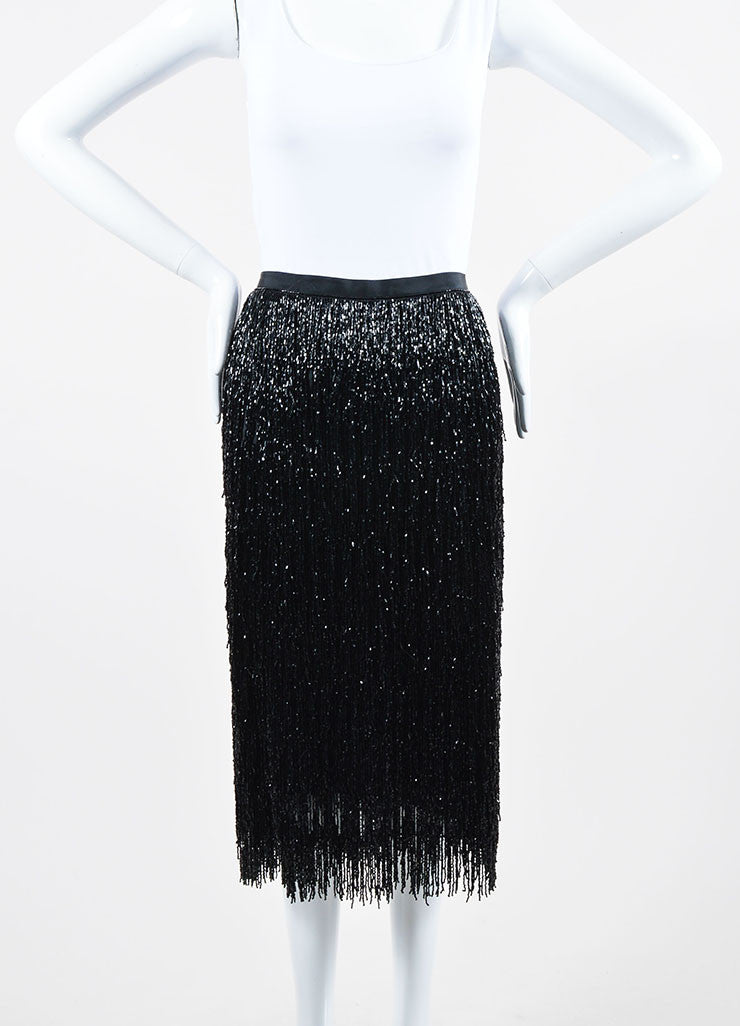 Black Alberta Ferretti Beaded Fringe Pencil Skirt Frontview