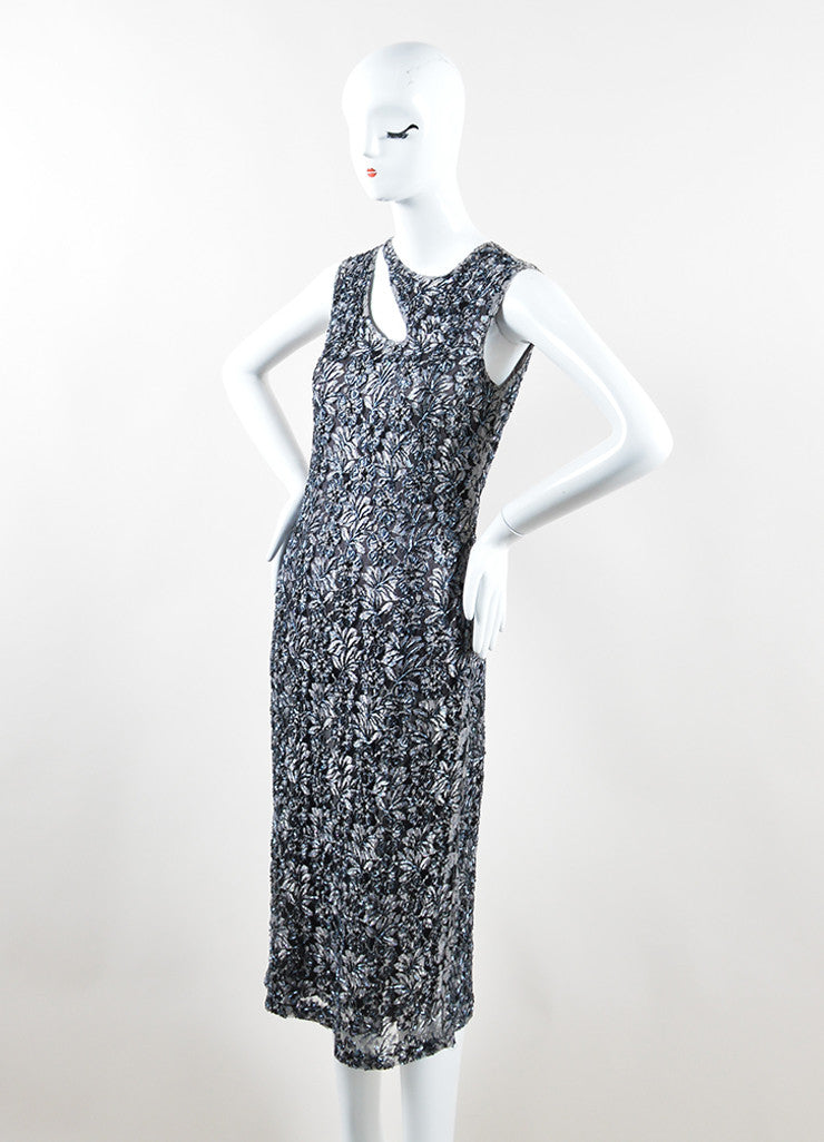 Alexander McQueen Grey and Black Floral Bead Embellished Dress Sideview