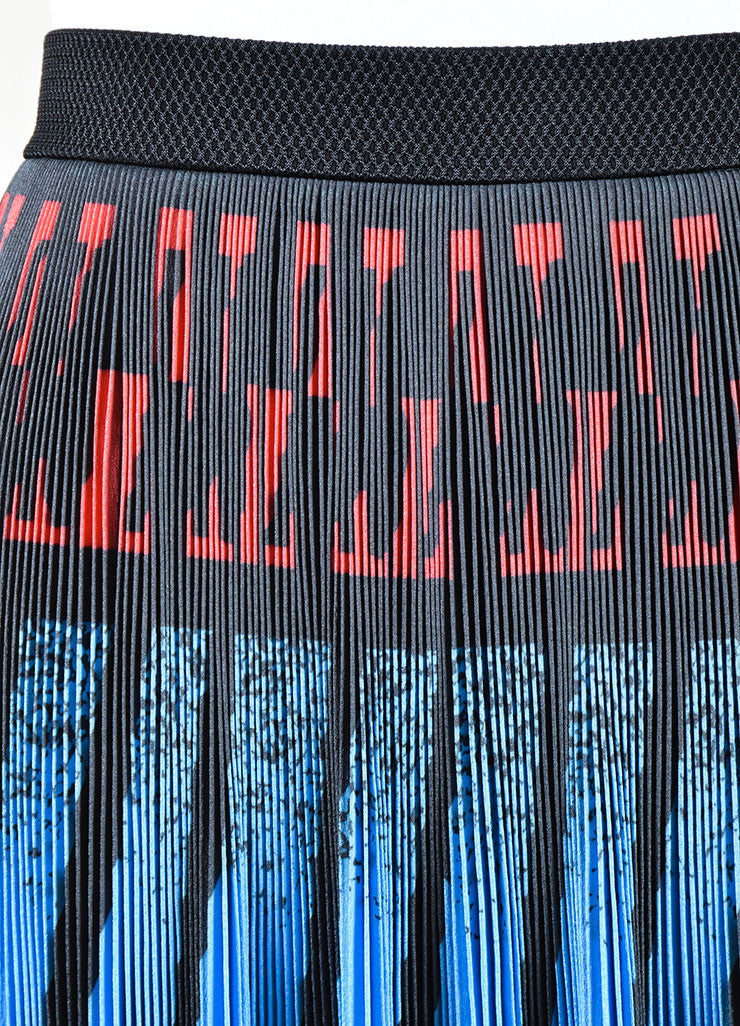Alexander Wang Blue, Black, and Red Printed Micro Pleat Stretch A-Line Skirt Detail