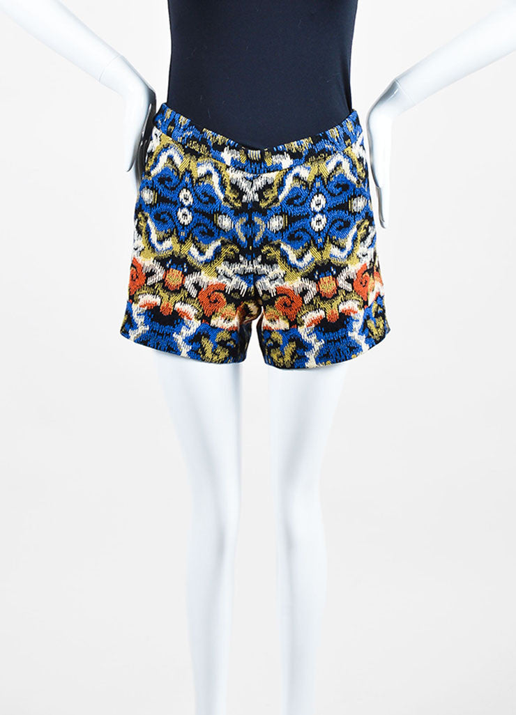 Multicolor Andrew Gn Jacquard Weave Shorts Frontview