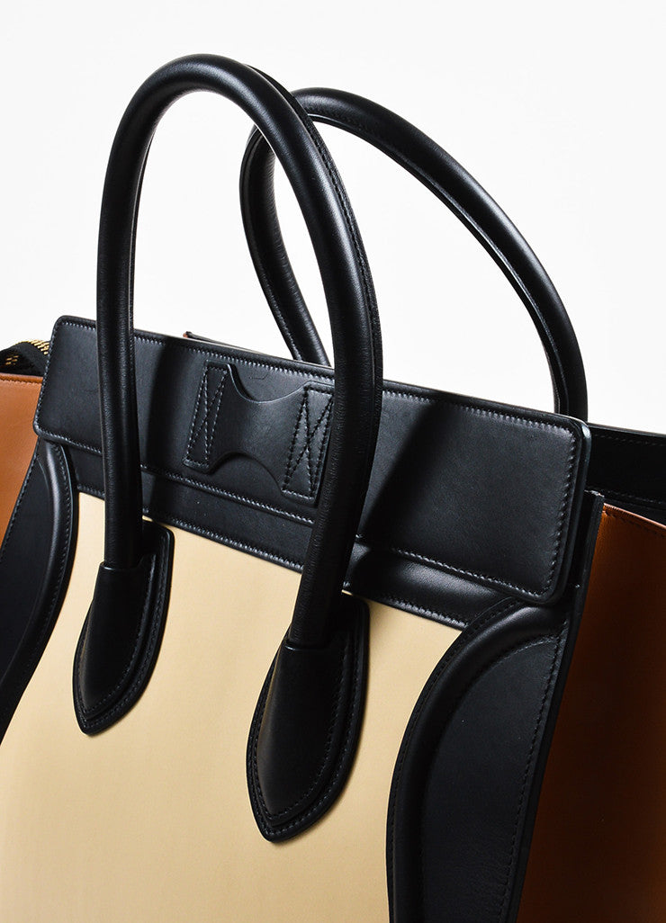 "Black Camel Nude Celine Leather Tricolor ""Mini Luggage"" Tote Bag Detail 3"