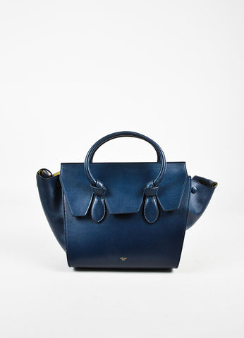 "Celine Navy Leather Double Handle ""Mini Tie Tote"" Bag Frontview"