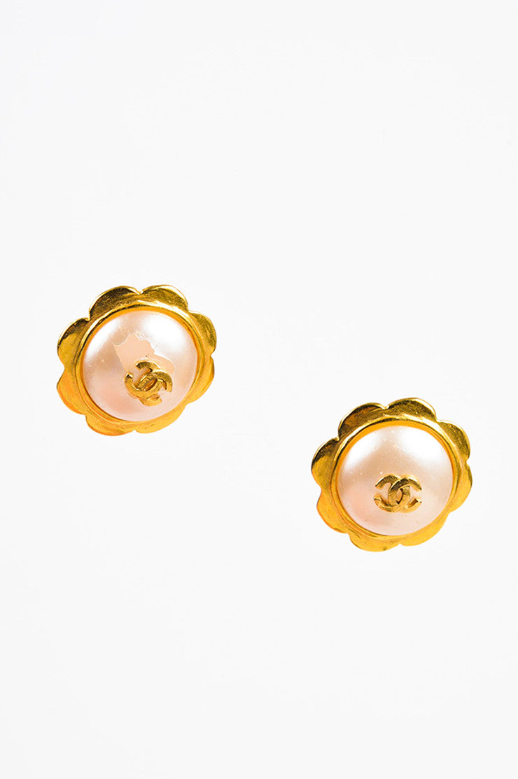 Gold Chanel Faux Pearl Camelia Flower Clip On Earrings Front